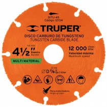 "Disco de carburo de Tungsteno 4-1/2"", multiusos"